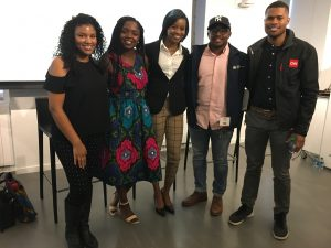 "2017 IRTS Multicultural Career Workshop ""Young Professionals"" Panel. Featuring 5 IRTS Former Fellows/ Workshop attendees. Imelda Burgan, Gentrix Shanga, Danielle Brooks, Malik Johnson, and Micah Minter"