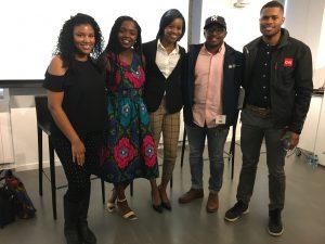 "2017 IRTS Multicultural Career Workshop ""Young Professionals"" Panel. Featuring 5 IRTS Former Fellows/ Workshop attendees. Imelda Burgan, Gentrix Shanga, Danielle Brooks, Malik Johnson, and Micah Minter"