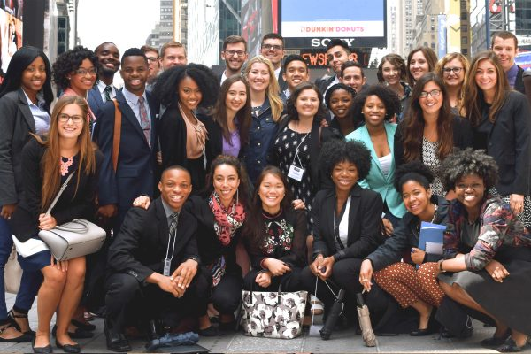 2015 Fellows in Times Square, Orientation week group shot (3)