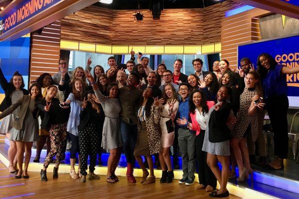 2017 IRTS Fellows and IRTS staff at Good Morning America with 2011 IRTS alum Eric Jones