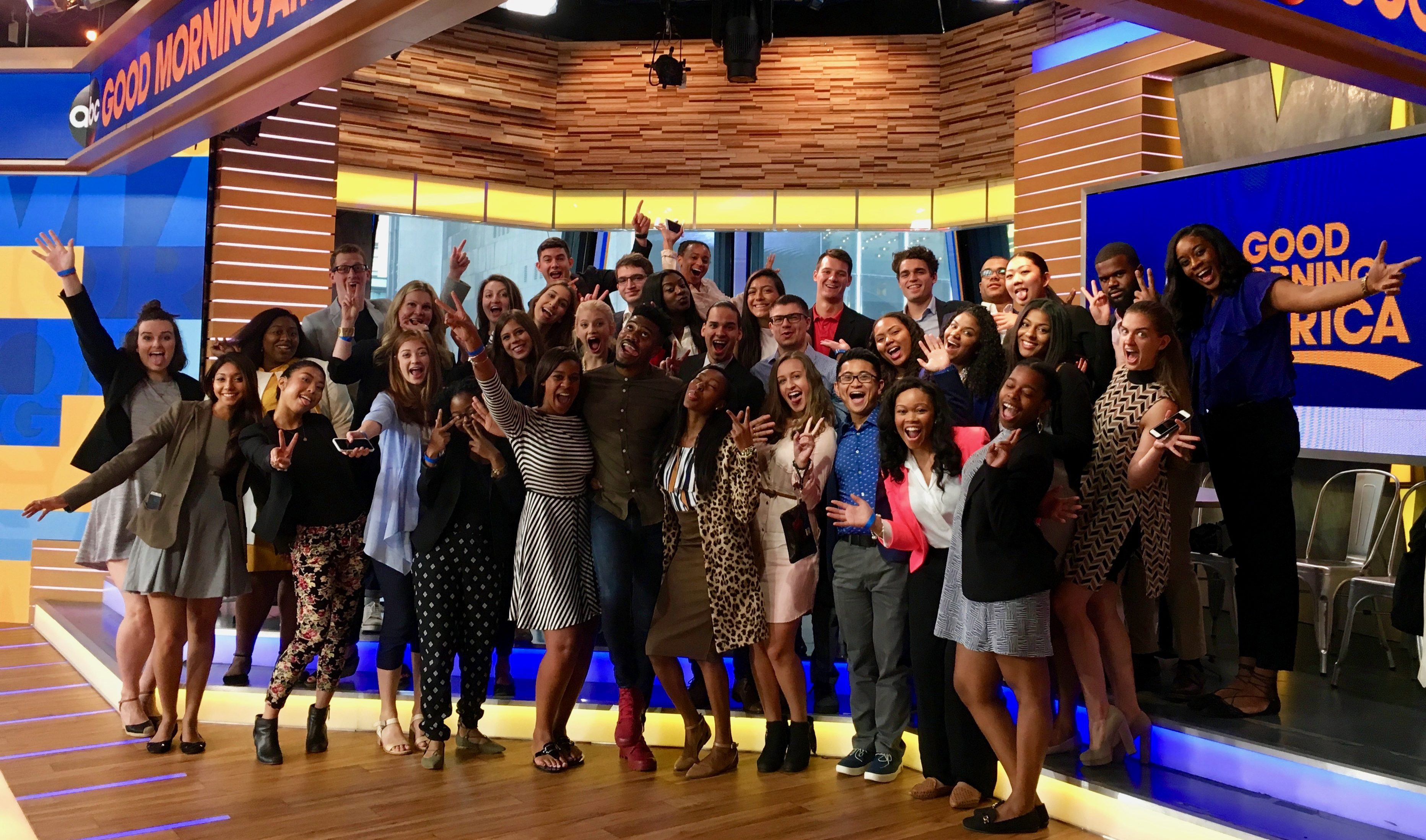 2017 IRTS Fellows and IRTS staff at Good Morning America with 2011 IRTS alum Eric Jones