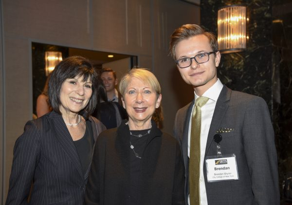 2016 IRTS Summer Fellow Brendan Shyrer with his sponsor, Betsy Frank (center) at the 2016 IRTS Newsmaker Breakfast