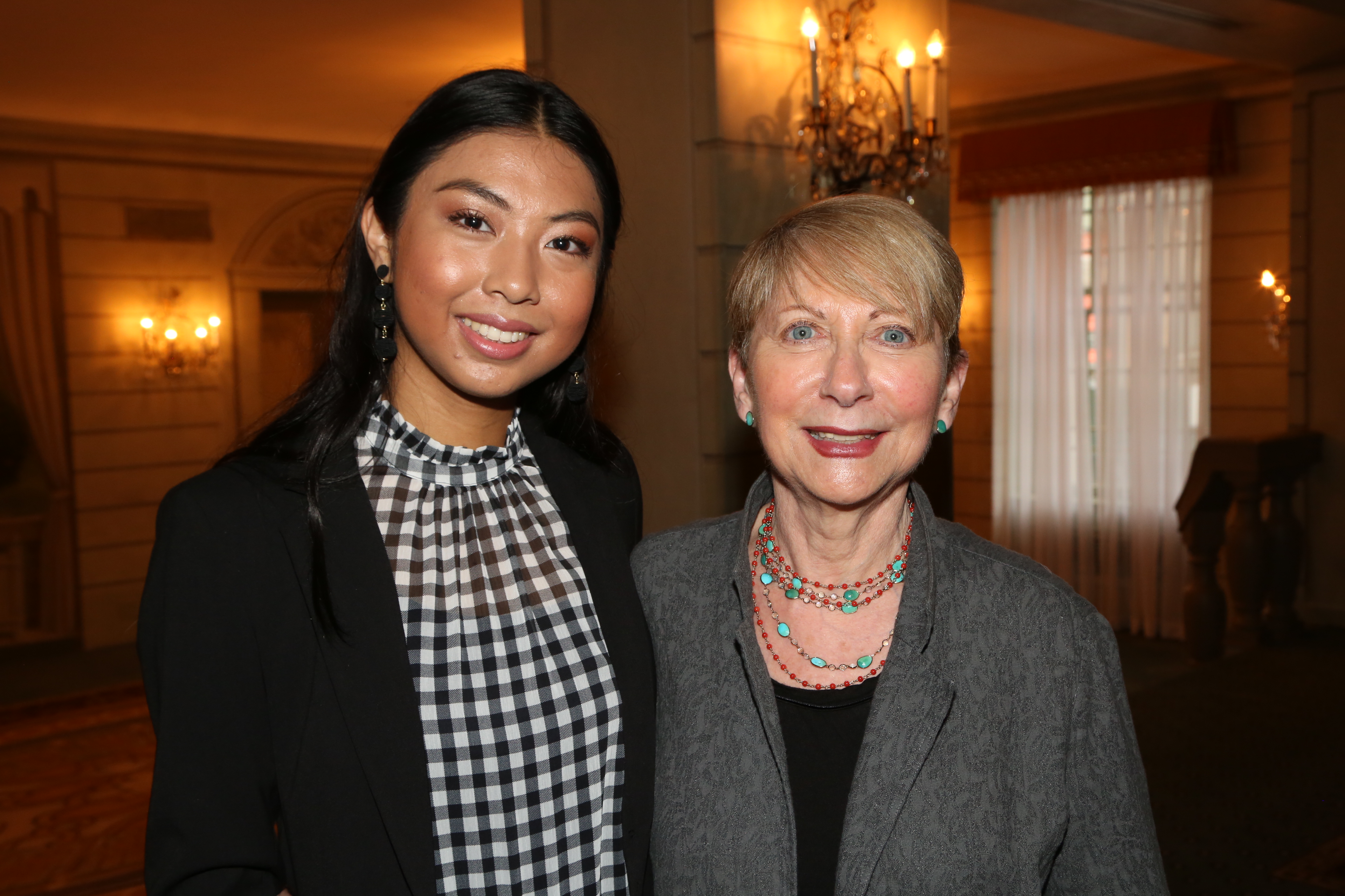 Ariana Yaptangco and her sponsor, Betsy Frank at the IRTS Newsmaker Breakfast