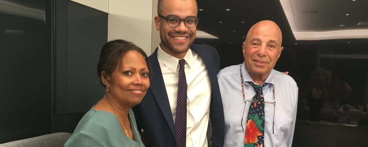 Jackson Kurtz, inaugural recipient of the Leibner-Cooper Fellowship, standing with Crystal Johns and Richard Leibner at United Talent Agency