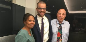 2017 IRTS Summer Fellow Jackson Kurtz, inaugural recipient of the Leibner Cooper Fellowship, at UTA with Crystal Johns and one of his sponsors, Richard Leibner