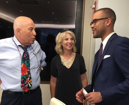 2017 IRTS Summer Fellow Jackson Kurtz & his sponsor, Richard Leibner, with Joyce Tudryn of IRTS, at United Talent Agency (UTA)