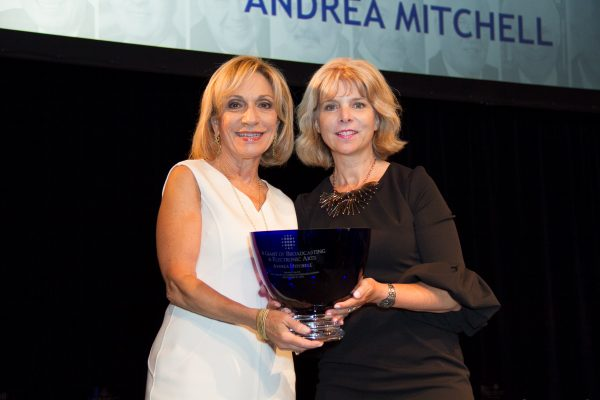 2017 Honoree Andrea Mitchell accepting her Giants award