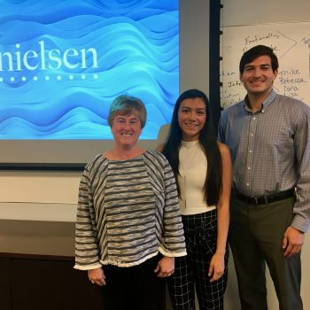2017 Joanne Mercado Fellow, Erin Torres, at Nielsen with IRTS Board Member Sara Erichson and 2014 Nielsen-sponsored IRTS Fellow, Mate Aguirre