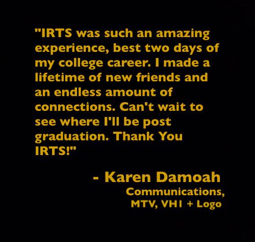 Quote from IRTS Multicultural Workshop alumna Karen Damoah