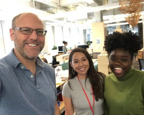 2018 Fellow Alyssa Garza with IRTS alumni Andy Meyer ('94) and Lamique Farrell ('15) at her TED internship