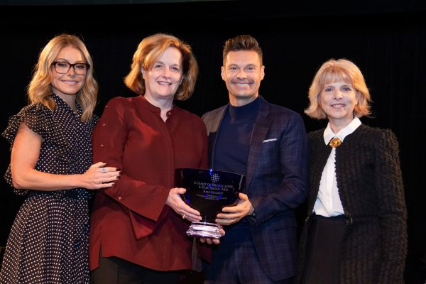 2018 Giants of Broadcasting honoree Ryan Seacrest accepting award