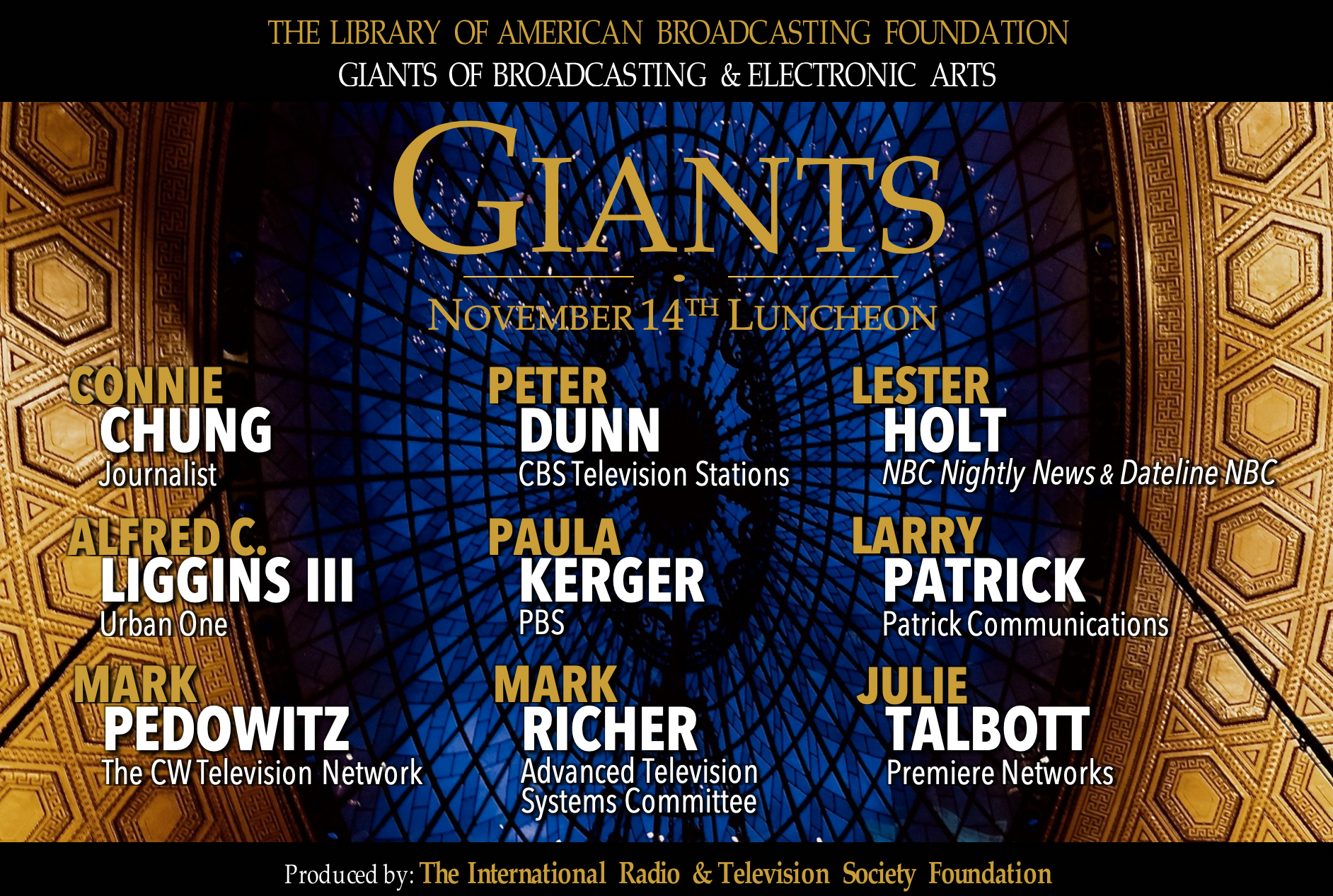 2019 LABF Giants of Broadcasting luncheon banner (title, date, & honorees listed)