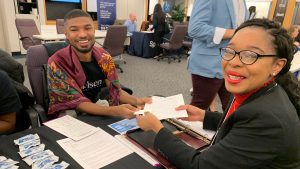 An industry recruiter and an IRTS conferee at the 2019 IRTS Multicultural Career Workshop