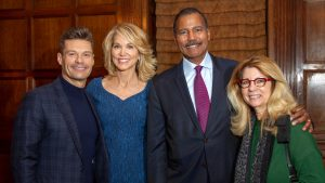2018 LABF Giants of Broadcasting honorees Ryan Seacrest, Paula Zahn, Bill Whitaker, and others standing together